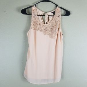 Ann Taylor Embroidered Lace Detail Tank Rhinestone